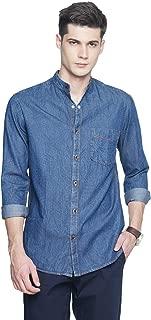 OJASS Men's Solid Casual Blue Shirt