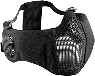 """OneTigris 6"""" Foldable Half Face Airsoft Mesh Mask with Ear Protection, Military.."""