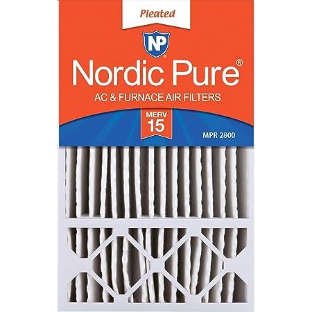 Nordic Pure 15x25x1 MERV 13 Tru Mini Pleat AC Furnace Air Filters 2 Pack