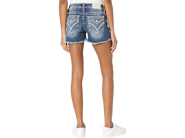 Miss Me Frayed X-Shaped Flap Pocket Mid-Rise Shorts in Medium Blue