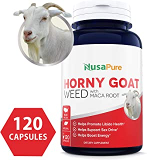 Horny Goat Weed Extract 1000mg 120 Caps (Non-GMO & Gluten Free) Maca Root, Ginseng, Muira Puama and L-Arginine - for Men and Women - Pure Herbal Nutritional Supplement 2 Month Supply