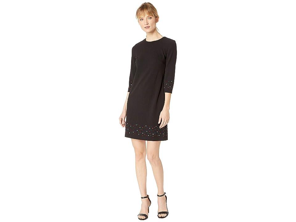 Calvin Klein Multicolor Embellishment Long Sleeve Dress CD8C14UF (Black) Women