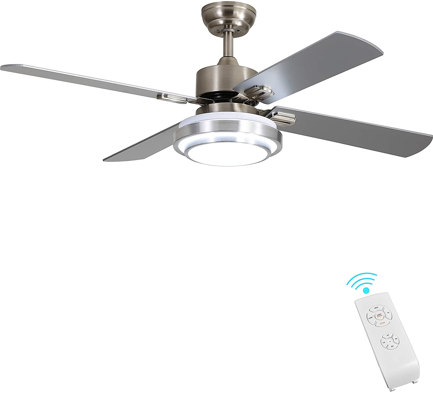 Indoor Ceiling Fan Light Fixtures Finxin Remote Led 52 Brushed Nickel Ceiling Fans For Bedroom Living Room Dining Room Including Motor Remote Switch 4 Blades Amazon Com