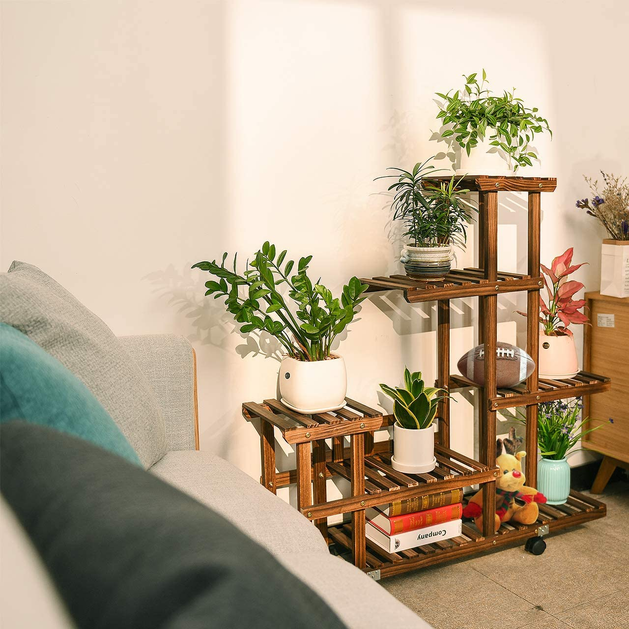 Buy cfmour Wood Plant Stand Indoor Outdoor, Wooden Plant Display ...