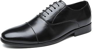 Agustin JP ビジネスシューズ メンズ 革靴 ストレートチップ 绅士靴 カジュアルシューズ 柔らかい皮 防滑 通気性 軽量 AG-5(ブラック、ブラウン)24.5cm-27.5cm