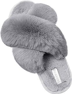 HommyFine Slippers Plush Warm Soft Slippers Non-Slip Slippers Cuddly Open Toe Slippers with Elastic Band for Girls Boys Children