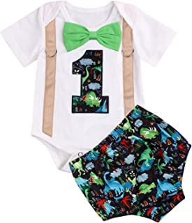 GRNSHTS Baby Birthday Dinosaur Outfits Infant Boy Short Sleeve Gentleman Bodysuit Cake Smash Party Clothes