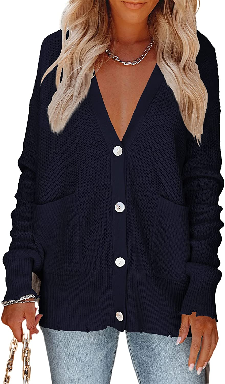 Dellytop Womens V Neck Button Down Cardigan Sweater Casual Long Sleeve Open Front Sweater Top with Pockets