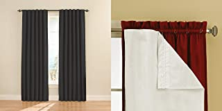 Eclipse 11353052X084BK Fresno 52-Inch by 84-Inch Blackout Window Curtain Panel Pair (Black) with Thermaliners (White)