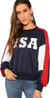 SweatyRocks Women's USA Flag Printed Sweatshirt Long Sleeve Pullover Hoodies Crop Top for Girl
