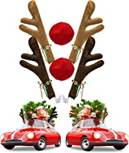 Joyjoz 2 Pack Christmas Car Reindeer Antler Decoration Kit with Nose, Reindeer Jingle Bell Christmas Costume, Auto Accesso...
