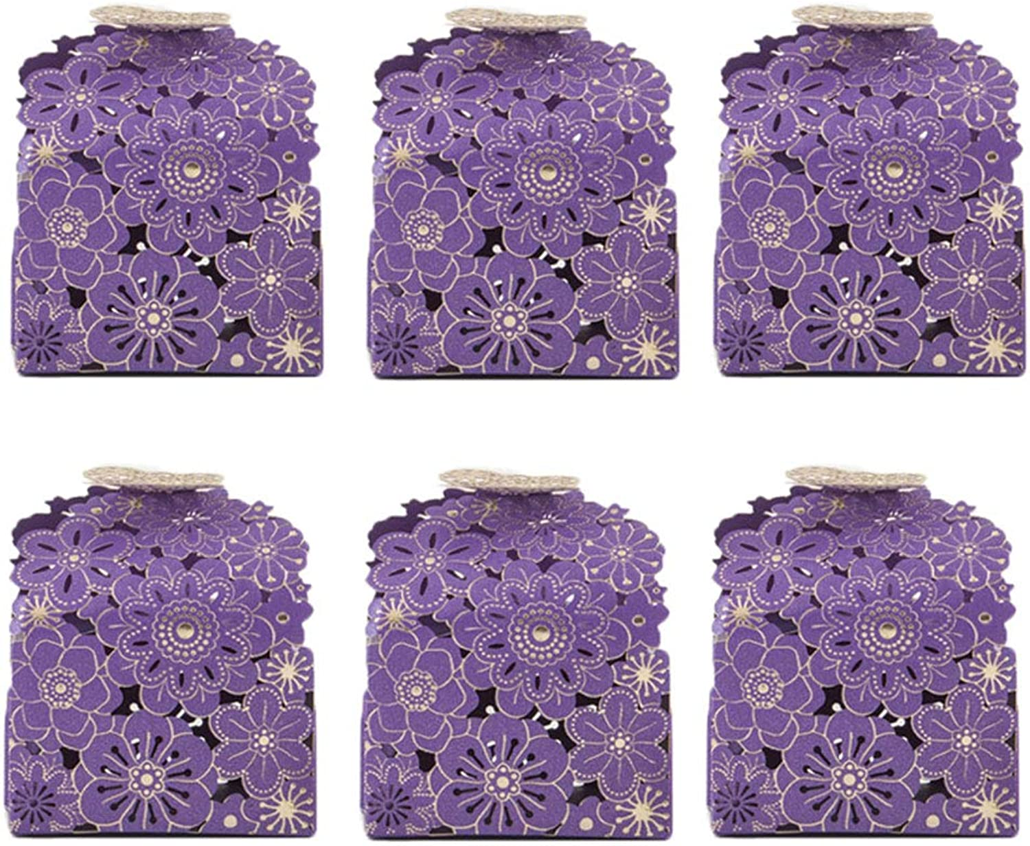 100pcs Candy Box Sugar Bowl New Style Sweets Boxes Hollow out European Style for Wedding Party (Purple)