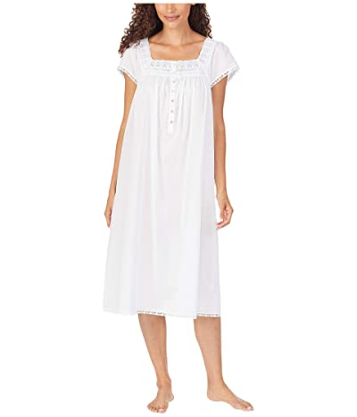 Eileen West Cotton Lawn Woven Cap Sleeve Waltz Nightgown (White) Women