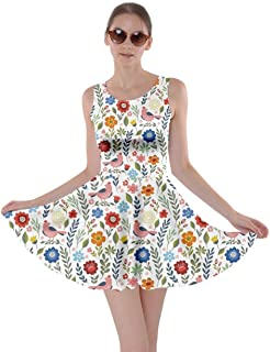 CowCow Womens Flowers Plants Floral Rose Blossom Pattern Summer Skater Dress, XS-5XL