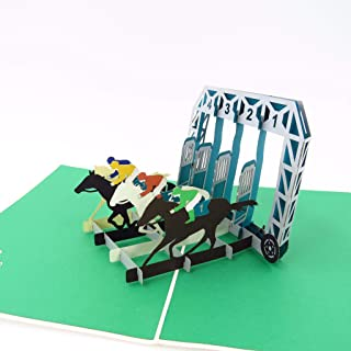Horses 3D Pop Up Greeting Card - Horse racing, Pony, Champion, Father's Day, Congratulations, Happy Birthday, Retirement, Just Because, Graduation, Celebrations, All Occasion | Pop Card Express