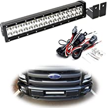 iJDMTOY Lower Grille Mount LED Light Bar Kit For 2015-up Ford F150 XLT Lariat and Limited, Includes (1) 96W High Power LED Lightbar, Lower Bumper Opening Mounting Brackets & On/Off Switch Wiring Kit