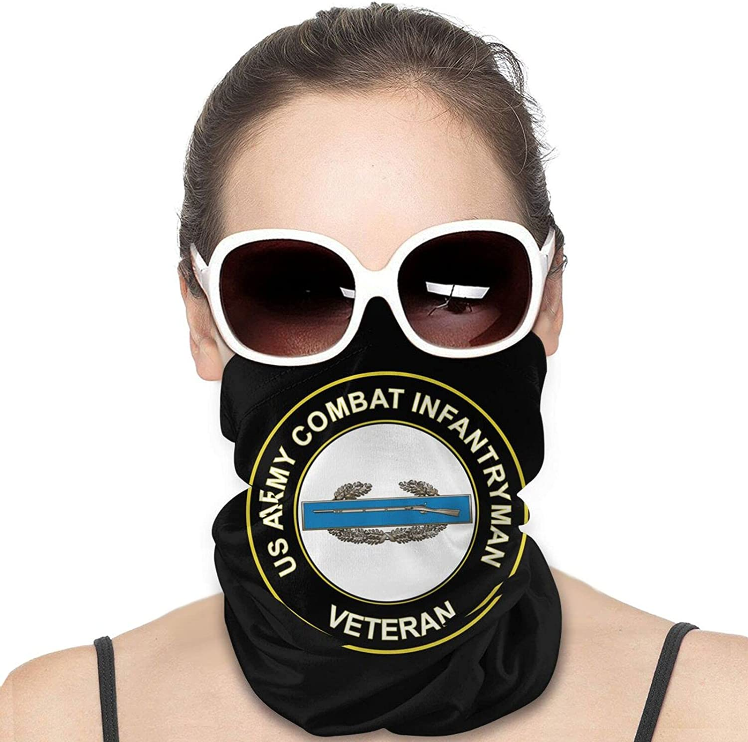 U.S. Army Combat Infantryman CIB 1st Award Veteran Round Neck Gaiter Bandnas Face Cover Uv Protection Prevent bask in Ice Scarf Headbands Perfect for Motorcycle Cycling Running Festival Raves Outdoors
