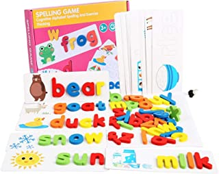 Letter Recognition Spelling Game, See and Spell Learning Toys, Wooden Cardboard Matching Letter Puzzles Montessori Prescho...