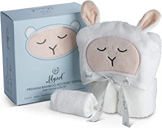 Lilyseed Premium Organic Hooded Baby Towel and Washcloth Gift Set - Ultra Soft Bamboo Baby Towels with Hood for Boys or Girls, Infants, Toddlers Large Infant Towel - Peach Lamb