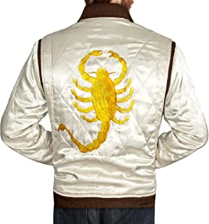 Men's Drive Jacket with Golden Scorpion - Ryan Gosling Famous Scorpion Jacket for Drive Lovers