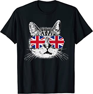 UK Union Jack British Flag England Cat Sunglasses T-Shirt
