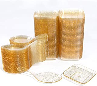 WDF 200Piece Appetizer Plates Set-100Pieces Gold Glitter Mini Plastic Square Plates-100Pieces Disposable Tasting Spoons for Dessert