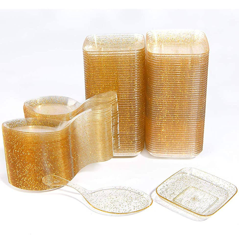 WDF 200Piece Appetizer Plates Set-100Pieces Gold Glitter Mini Plastic Square Plates-100Pieces Disposable Tasting Spoons for Dessert