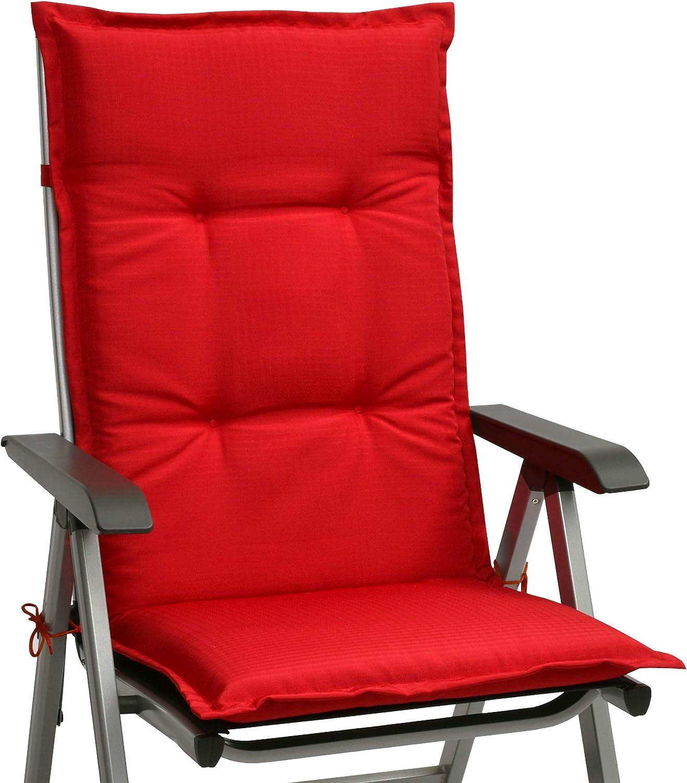 Beautissu cojín para sillas de Exterior, tumbonas, mecedoras o Asientos con Respaldo Alto Base HL 120x50x6 Placas compactas de gomaespuma - Rojo