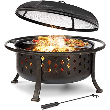 """KINGSO 36"""" Fire Pit Outdoor Large Steel Wood Burning Fire Pits Bowl BBQ Grill Firepit for Outside with Spark Screen Cooking Grid Poker for Backyard Garden Camping Bonfire Patio, Oil Rubbed Bronze"""