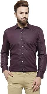 RG Designers Wine Solid Slim Fit Full Sleeve Cotton Formal Shirt