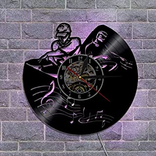 ビニールレコードの壁掛け時計 アートデザイン、 クォーツ時計機構 常夜灯 音楽ファンのための最高の贈り物 リモコン付き,C