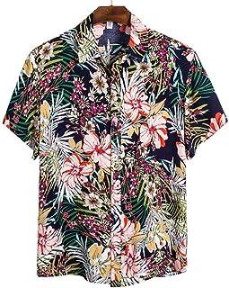 Camisa de Playa de Calidad para Hombre Camisa Hawaiana de Manga Corta Camisa Casual de Verano con Estampado Floral para Ho...