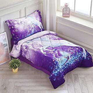 Wowelife Unicorn Toddler Bedding Set Purple 4 Piece Fly Unicorn Snowflake Toddler Bed Sets for Kids(Purple Unicorn)