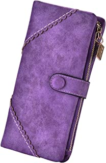 Colorful Women Wallet with phone holder, Faux Leather Bifold Clutch Handbag, Matte Buckle Long Purse Organizer for Women