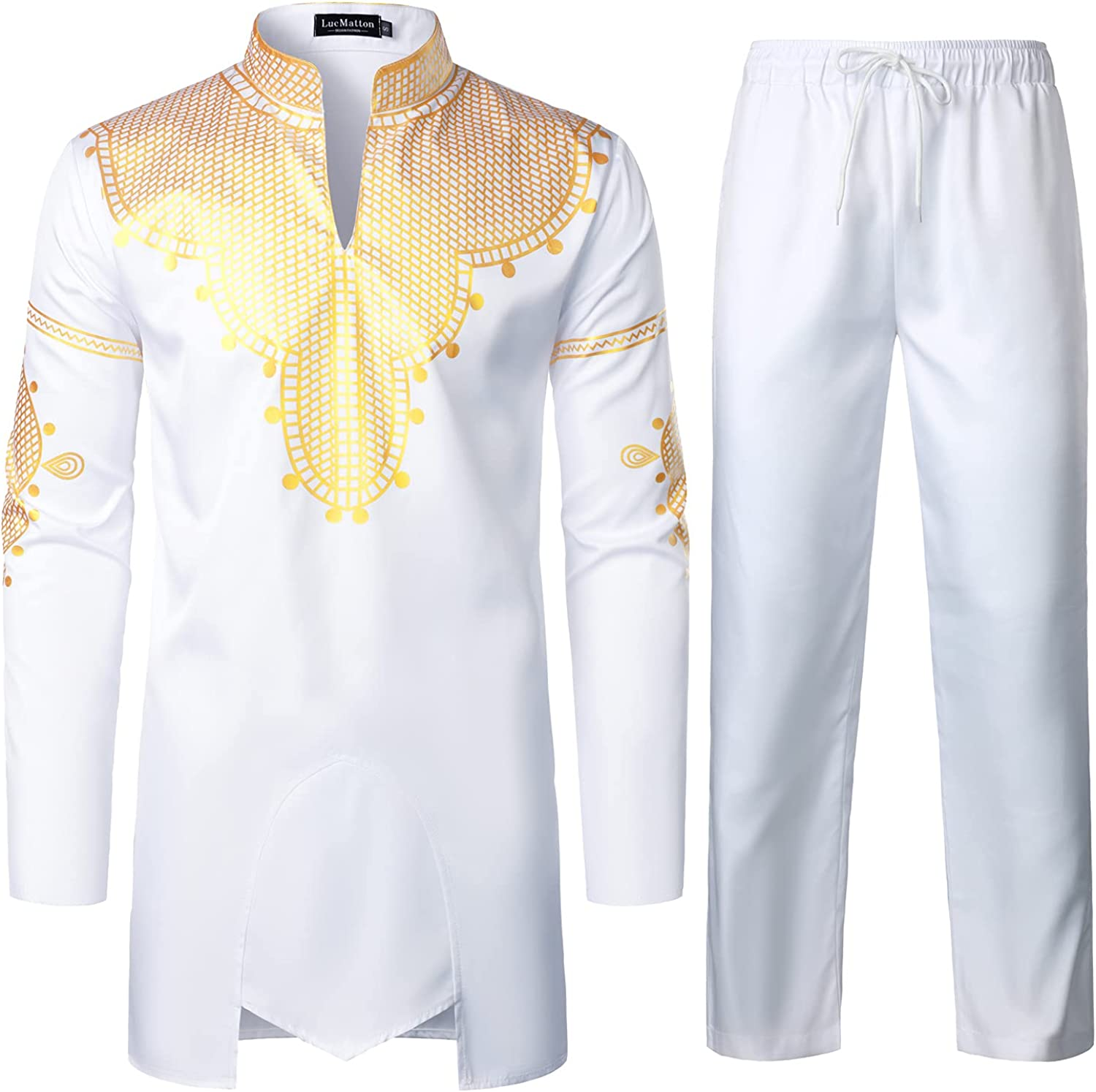 LucMaton Men's African 2 Piece Set Long Sleeve Gold Print Dashiki and Pants Outfit Traditional Suit