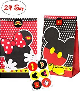 MALLMALL6 Mickey Minnie Goodie Candy Treat Bags 24pcs Birthday Party Favor Paper Bags Mickey Themed Party Goodie Dessert Bags with Mickey Thank You Stickers for Kids