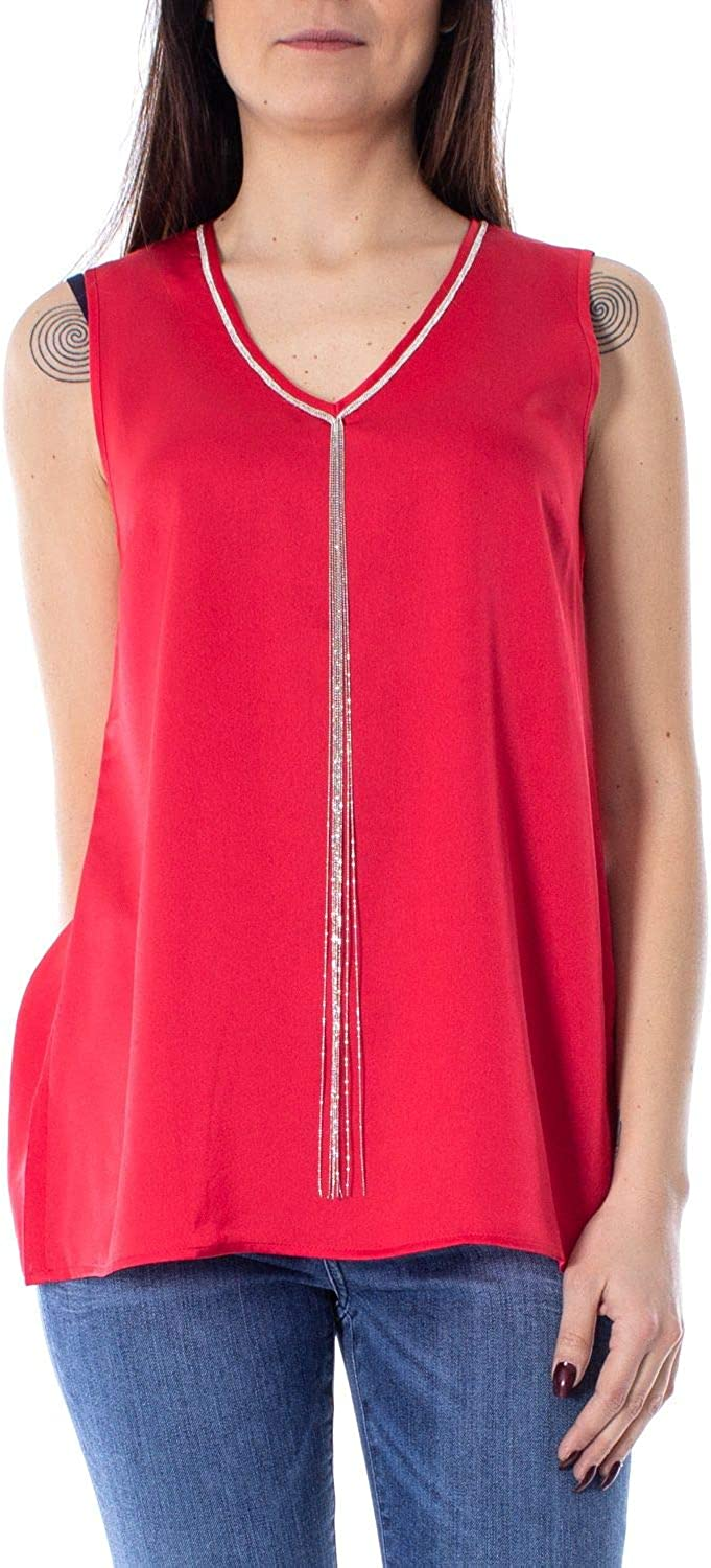 Anis Collection Milano Women's 931245RED Red Polyester Tank Top