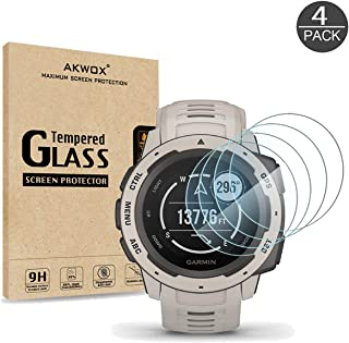 [4 Pack] AKWOX Compatible for Garmin Instinct Smartwatch Tempered Glass Screen Protector, 2.5D Arc Edges 9 Hardness HD Ant...