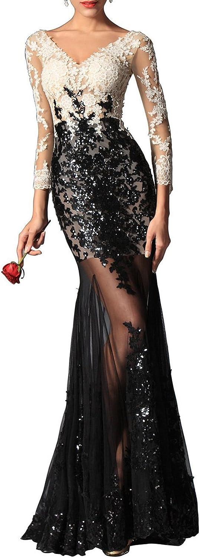 FASHION DRESS Black and White deep V Sexy Prom Dress Floral Arrangements