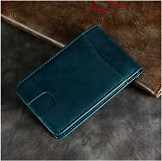 Men's Leather Casual European and American Wallet Short Retro Leather RFID Anti-Theft Beauty Money Bag (Color : Blue, Size : S)