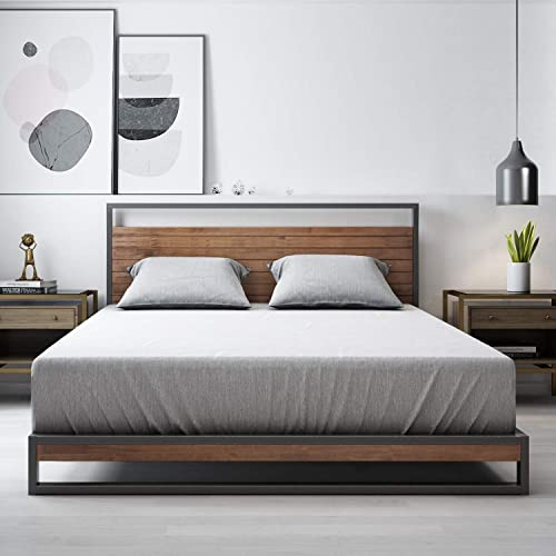Zinus Suzanne Queen Metal and Pine Wood Platform Bed Frame with Headboard | Mattress Base Support Wooden Slat Black S...