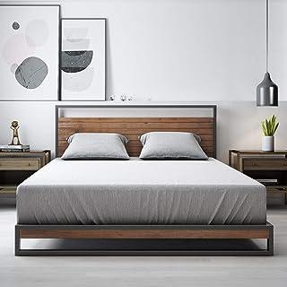 Zinus Ironline Queen Bed Frame Base / 5 Yr Warranty/Metal Pine Wood Suzanne Platform/Bedroom Furniture Industrial