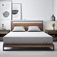 Zinus Suzanne King Bed Frame Base Metal and Pine Wood Headboard Platform Bed Wooden Slat Ironline Industrial