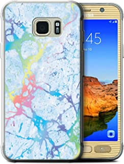 eSwish Gel TPU Phone Case/Cover for Samsung Galaxy S7 Active/Blue Gemstone Design/Colour Holographic Marble Effect Collection