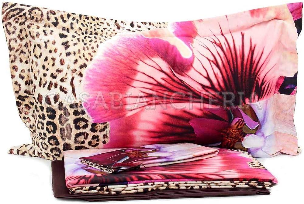 Roberto cavalli completo copripiumino matrimoniale orchidea,raso satin di puro cotone 100% 14017503