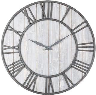 WHSS Continental Iron Duplex Horloge murale rétro en bois de sapin silencieuse Diamètre 40 cm Noir