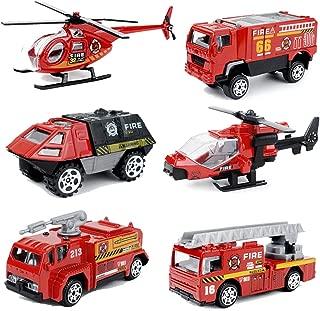 MinYn 6 PCS Fire Engine Vehicles Truck Die Cast Alloy Mini Rescue Emergency Car Model Fire Truck Toy Playset for Boys Kids