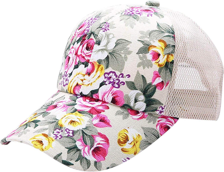 Womens Summer Baseball Hats with Flower Prints Casual Trucker Dad Hats Mesh Ponyhats Sun Protection UPF 50+ Sunhat