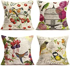 Fukeen Set of 4 Vintage Herb Flower Throw Pillow Cases Daisy Campanula Floral Decorative Pillow Covers Cushion Cotton Line...
