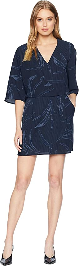 Printed Kimono Sleeve Faux Wrap Dress